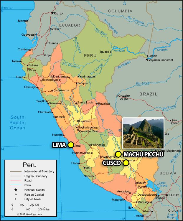 topographic maps of peru. makeup geo-political peru map